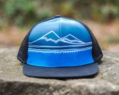 Hand Painted Hat with Two-Tone Blue Mountains