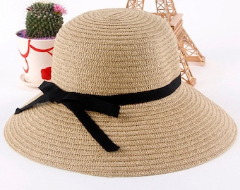 Straw ladies Cap Women Girls Wide Large Brim Summer Beach Sun hat