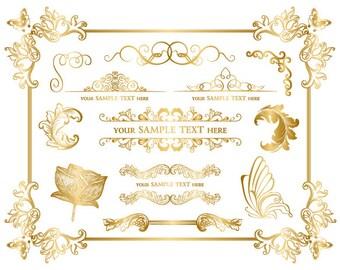 Instant Download Golden Frame Border Clipart Gold Digital Flourish Swirl Frame Clip Art Floral Butterfly Scrapbook Embellishment 0032