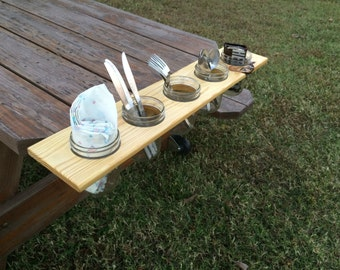 Reclaimed wood and mason jar shelf