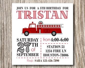 Firetruck, Fire Truck, Fireman, Fire Man, Birthday, Baby Shower, Invitation