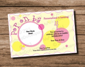 Bubble themed party invitation, add your own photo, personalized