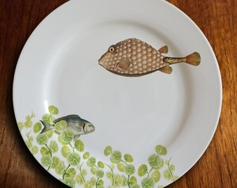 "fishy fish Dinner Plate -""geomertrique"""