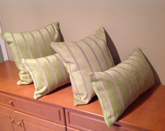 Green and creamy stripes cushion