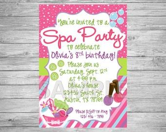 Spa Party Invitation, Spa Birthday Party Invitation, Slumber Party Invitation, Printable Spa Party Invitation