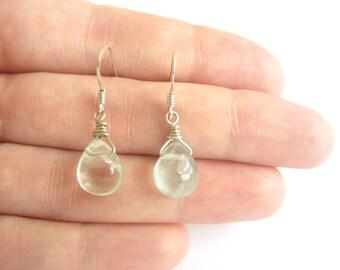 Dew Drops Apple - Fluorite Drop Earrings