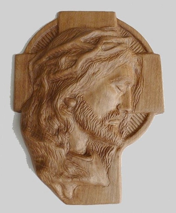 Jesus christ face on cross religious wood carving handmade
