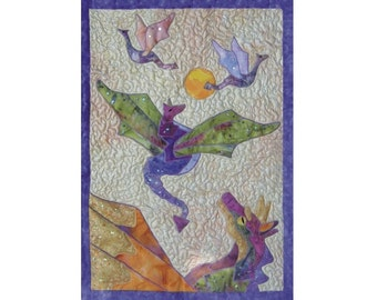 Dragons Dance  is a quilted applique pattern for a wall hanging