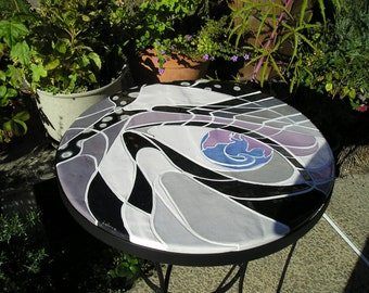 Handmade ceramic tile bistro table / breakfast table / mosaic table with wrought iron legs and black, white, and gray abstract design