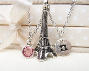 initial necklace, Eiffel tower necklace, birthstone necklace, Eiffel tower paris, travel to Paris, Eiffel lover gift, mother gift, kids