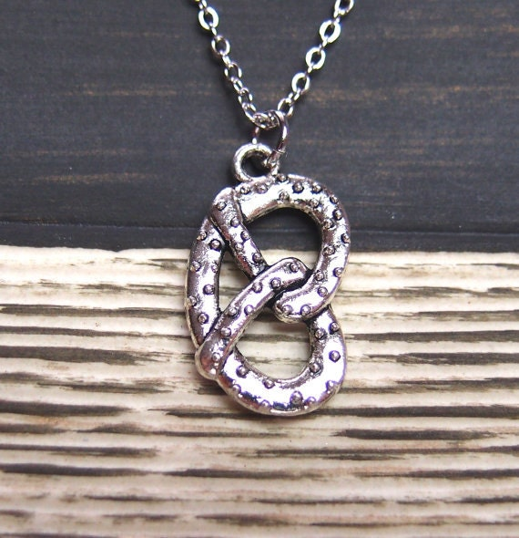 pretzel necklace necklace option silver pretzel charm