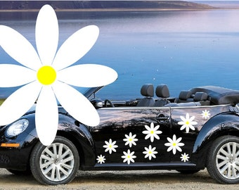 20,white daisy flower car decals,stickers in three sizes