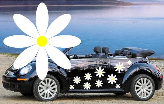 32 White Daisy Flower Car Decalsstickers In Three Sizes