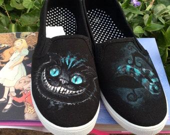 Cheshire Cat Custom Hand-Painted Shoes // Men's, Women's, Children // Vans or Standard // Alice in Wonderland