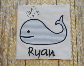 Personalized Beach Shirt with Applique Whale & Name - Summer Shirt - Nautical Shirt - Beach Vacation Shirt - Boys Monogram Whale Shirt