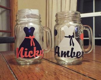 Personalized wedding party mason jars