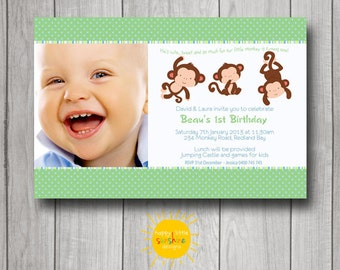 Boy Birthday Invitation Personalised Printable Any Age Birthday Monkey