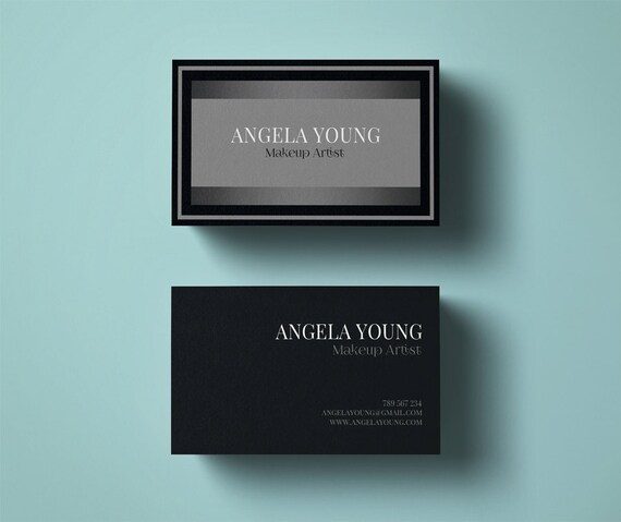 Makeup artist business card template modern business card makeup artist business card template modern business card design custom graphic design instant download premade business card silver reheart Choice Image