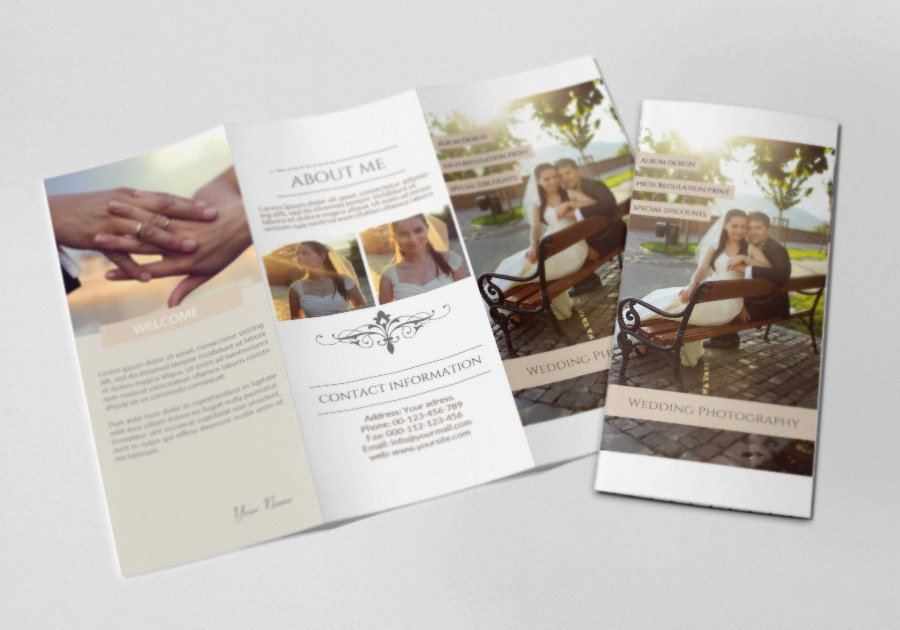 Photography trifold brochure template elegant promotional