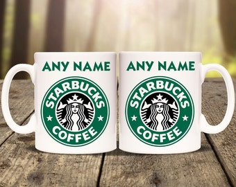 Personalised Starbucks mug cup. Print any name message or text. Tea coffee Birthday Christmas Gift Present. Personalized