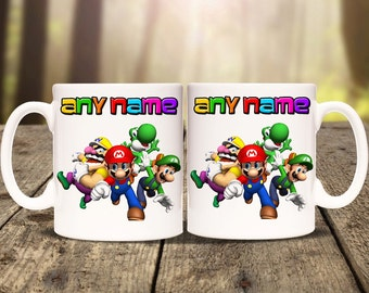 Personalised Super Mario mug cup. Print any name message or text. Tea Coffee Birthday Christmas Gift Personalized Luigi computer game