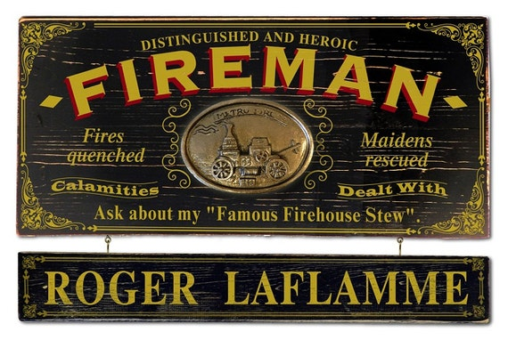 Firefighter Man Cave Signs : Fireman vintage plank nameplate sign personalized bar man cave
