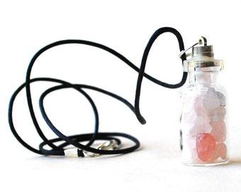 Rose Quartz Crystal Chips Bottle Pendant Necklace Gift Of Love