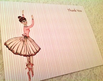 Ballerina Thank you Note Cards Stationery-Personalized Children's Stationery Sets-Set of 10