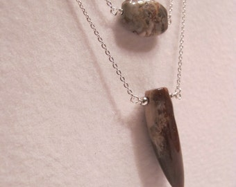 Double Strand Gemstone Necklace, Jasper long tooth/horn pendant and leopard skin jasper bead