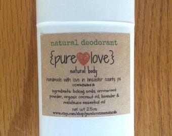 All Natural Ingredient Deodorant 2.5oz, Natural Fragrance, Paraben Free, Aluminum Free Deodorant, Vegan Deordorant