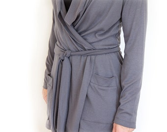 Long Grey Cardigan Wrap Top With Long Sleeve Knit Cardigan For Women Oversized Sweater