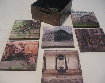 Hand painted coaster boxes with photo coasters.