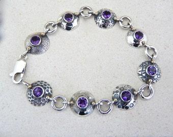 Amethyst silver bracelet , sterling silver bracelet, Amethyst silver and gold bracelet, purple stone bracelet, purple bracelet, purple stone