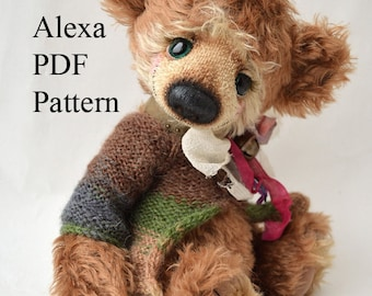 PDF Teddy bear pattern, 13 inches (33 cm) - Alexa