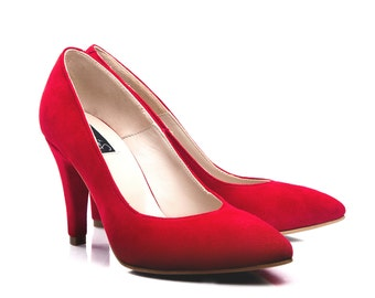 New Carrie Red Suede Pumps