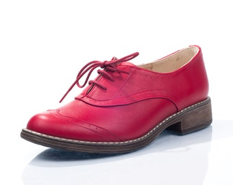 Jessie Red Leather Oxford Shoes