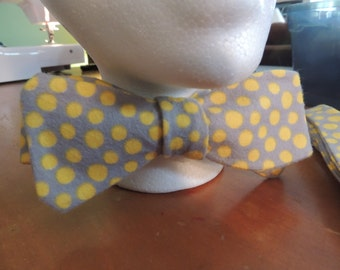 Yellow Polka Dot Self Tie Bow Tie