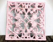 BOLD TRIVET pastel powder pink // ornate square floral design // rustic shabby cottage chic // hand painted // kitchen decor