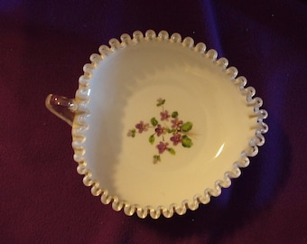 Fenton Heart Shaped Silver Crest Bowl with Violets