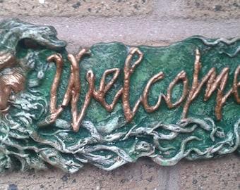 GreenMan welcome Door Gate Garden Wall Plaque - Hand Cast & Painted PAGAN