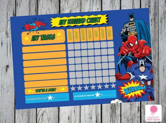 Superhero Reward Chart Instant Download By