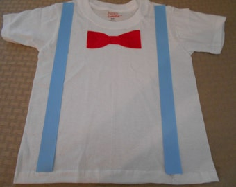 Toddler Boy T Shirt with Suspenders & Tie Blue and Red Bow Tie