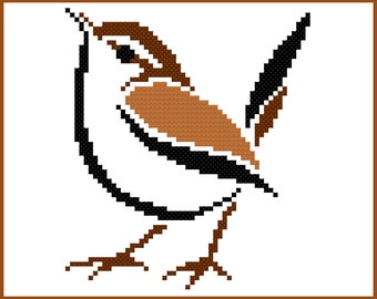 Stylised Sparrow Cross Stitch Pattern