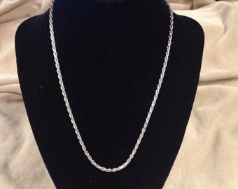 Vintage 925 Sterling Silver Chain Necklace, Length 17''