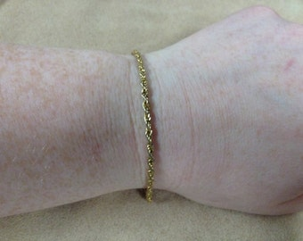 Vintage Goldtone Rope Chain Bracelet, Length 7.25''