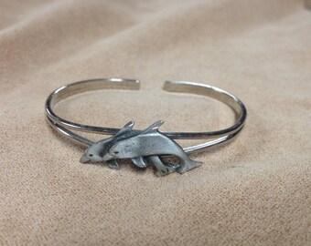 Vintage Silvertone Dolphin Cuff Bracelet,