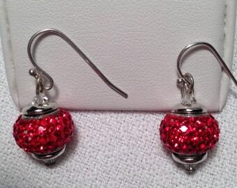 Red Rhinestone Earrings and Pendant