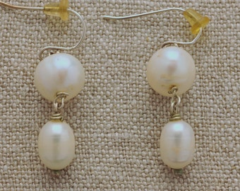 Drop pearl earrings with 9mm & 6mm fresh water pearls with silver. Natural white.  #125