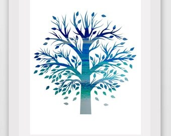Tree Print, Abstract tree art, Blue Tree Print, Printable Wall art, Modern Wall Art, Instant Download