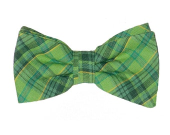 Holiday Pre-tied Bow Tie - Green Holiday Plaid - Infants to Adults - 100% Cotton - Extras So Sweet, LLC